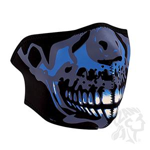 ZANheadgear Neoprene Half-Face Skull Face Mask - Blue Chrome