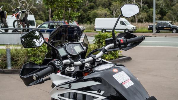 KTM 1090 Adventure R motorcycle steering column and controls