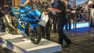 Suzuki GSX-R1000R motorcycle on display