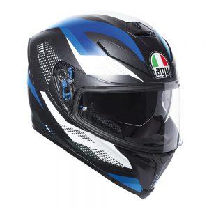 Marble Matt Black/White/Blue AGV K-5 S Helmet
