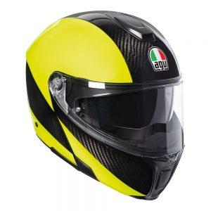 Hi-Vis Carbon/Yellow Fluro AGV Sportmodular Helmet