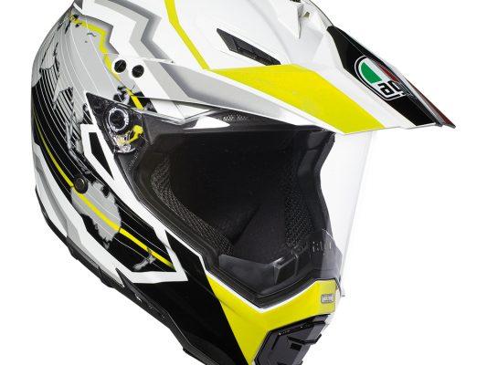 Earth White/Black/Yellow Fluro AGV AX-8 Dual Evo Helmet