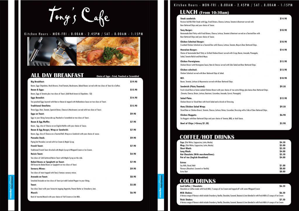 The menu at Tony's Cafe.