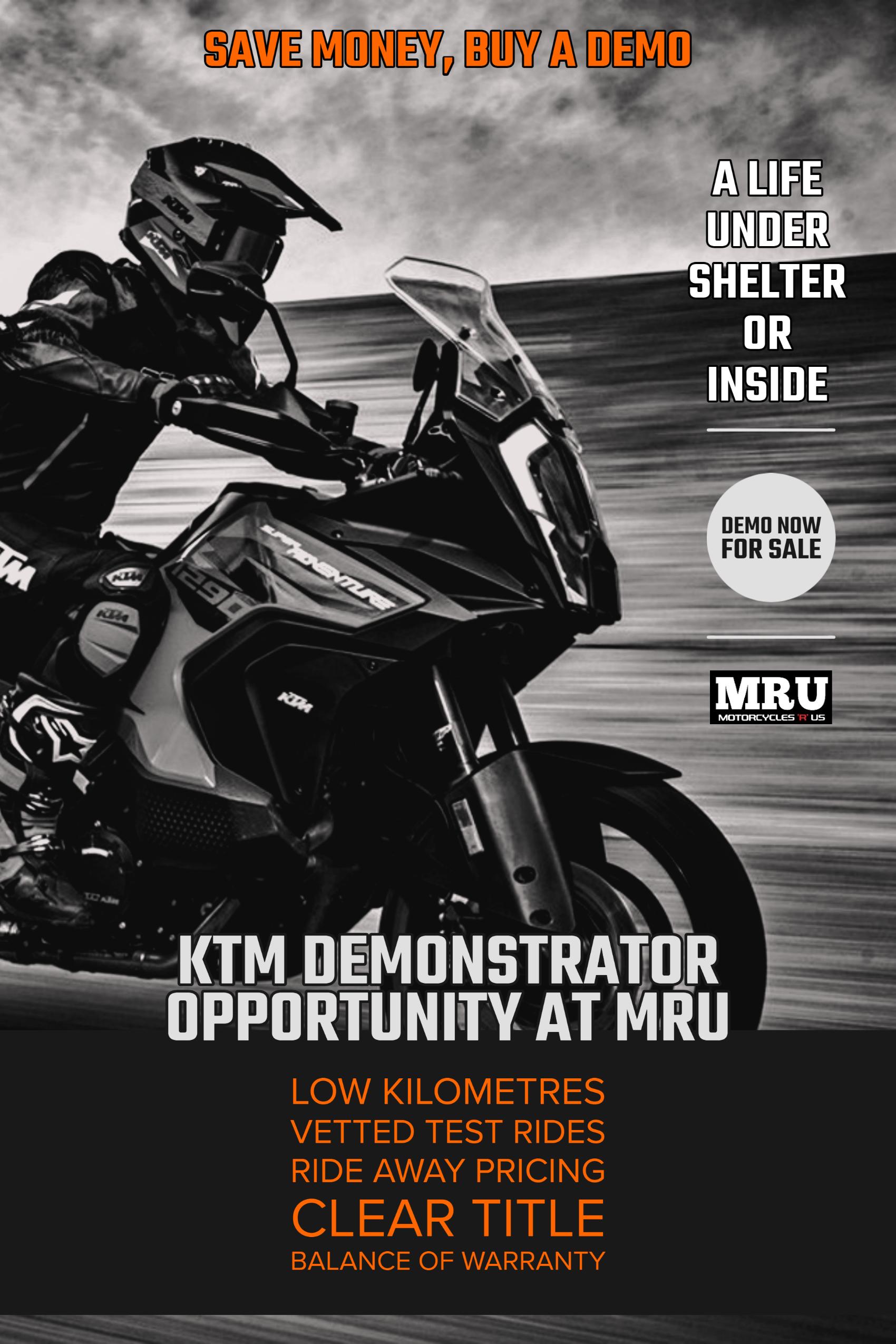 Image promoting buying a KTM demonstrator at MRU