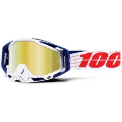 Bibal White + Gold Mirror Lens 100% Racecraft Goggle
