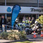 Police bikes on display.