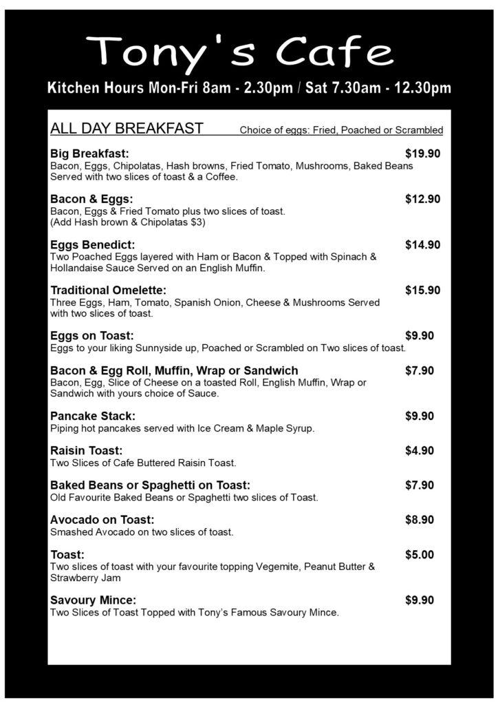Page 1 of Tony's Cafe Menu