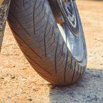 Worn and dusty motorbike tyre